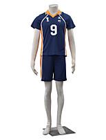 Ispirato da Haikyuu Kageyama Tobio Anime Costumi Cosplay Abiti Cosplay Tinta unita Blu / Arancione Maniche corte Top / Pantaloncini