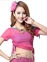 Belly Dance Tops Women's Training Tulle Pleated 1 Piece Fuchsia Belly Dance Short Sleeve Top