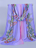 Women's Chiffon Totem Print Scarf Purple/Green/Yellow/Red