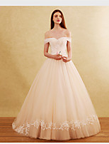A-line Wedding Dress Chapel Train Off-the-shoulder Tulle with Appliques