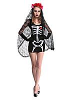 Costumes Zombie / Vampire / Esprit Halloween / Noël / Carnaval Rouge / Blanc / Noir Vintage Térylène Robe / Coiffure