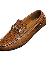 Men's Loafers & Slip-Ons Spring / Fall Flats Leather Casual Flat Heel Others Black / Blue / Brown / Green Walking