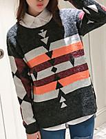 Women's Casual/Daily Simple Regular Cardigan,Geometric Gray Round Neck Long Sleeve Acrylic Fall Medium