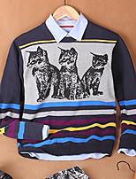 Men's Print Casual Pullover,Cotton Long Sleeve Black / Blue / Purple
