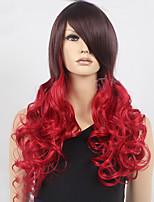 Capless Red And Black color High Quality Synthetic Long Wave Curly Synthetic Wigs