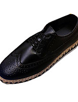 Men's Oxfords Spring / Fall Comfort Leatherette Casual Flat Heel Lace-up Black / Brown / White Walking