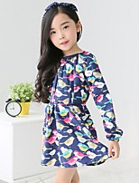Girl's Casual/Daily Patchwork Dress,Cotton / Polyester Spring / Fall Blue