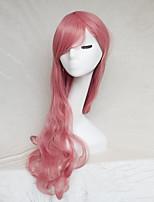 couleur perruque cosplay fumée rose jeté longs points de 30inch perruque de cheveux bouclés