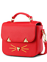 Women PU Casual Kitten Printing Metal Accessories Shopping Shoulder Tote  Cosmetic Bag