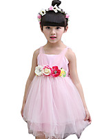 Girl's Going out Solid Dress,Cotton Summer Pink / Purple / Red