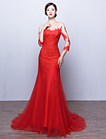 Formal Evening Dress Trumpet / Mermaid Scoop Sweep / Brush Train Tulle with Appliques