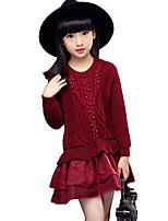 Vestido / Jersey y Cardigan Chica de-Casual/Diario-Un Color-Rayón-Invierno / Primavera / Otoño-Negro / Rojo