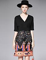 AFOLD® Женский V-образный вырез 1/2 Length Sleeve Выше колена Платья-Y6072