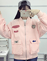 Women's Casual/Daily Simple Spring / Fall Jackets,Print Shirt Collar Long Sleeve Pink / White / Black Polyester Medium