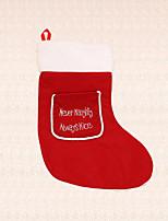 1pc media de la Navidad roja del bolsillo calcetín decoración de la pared bolsa de caramelos ornamento del festival presente para el