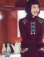 Aporia.As® Damen Rundhalsausschnitt Lange Ärmel Shirt & Bluse Grau / Burgund-MZ01163