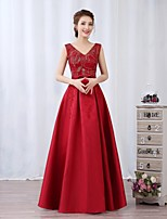 Prom / Formal Evening / Military Ball Dress A-line V-neck Floor-length Satin / Sequined with Bow(s) / Sash / Ribbon / Sequins