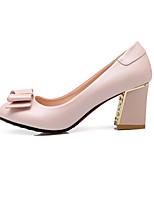 Women's Shoes PU Summer / Fall / Winter Heels Boots Wedding / Dress / Casual Chunky Heel Bowknot Black
