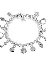 Women's S925 Sterling Silver Cahrm Bracelet for Wedding Party Casual Bracelet with Cross Heart Key Moon Pendant