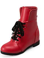 Черный / Красный / Белый-Женский-Свадьба / Для праздника / На каждый день / Для вечеринки / ужина-Дерматин-На танкетке-Модная обувь-