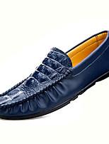 Heren Platte schoenen Lente / Herfst Comfortabel Leer Informeel Platte hak Instappers Zwart / Blauw / Wit Wandelen