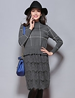 Sybel Women's Casual/Daily /  Patchwork Crew Neck Knee-length Long Sleeve Black / GrayCotton /