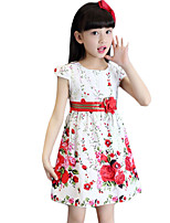 Girl's Going out Print Dress,Rayon Summer White