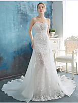 A-line Wedding Dress Sweep / Brush Train Strapless Lace / Organza with Flower