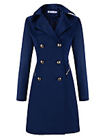 Women's Casual/Daily Sophisticated Coat,Solid Peaked Lapel Long Sleeve Winter Blue / Beige / Black Others Thick