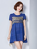 Women's Plus Size / Casual/Daily Street chic Loose Dress,Solid / Patchwork Round Neck Above Knee Short Sleeve Polyester