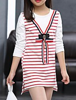 Girl's Casual/Daily Striped Blouse,Cotton Spring / Fall Black / Pink