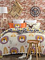 Lions 800TC bedding sets Queen King size Bedlinen printing sheets pillowcases Duvet cover sanding Cotton Fabric