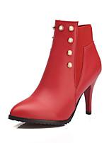 Mujer-Tacón Stiletto-Tacones / Botas a la Moda-Botas-Exterior / Oficina y Trabajo / Casual-Semicuero-Negro / Rojo