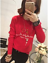 Women's Casual/Daily Simple Regular Pullover,Print Round Neck Long Sleeve Rabbit Fur Spring / Fall Medium