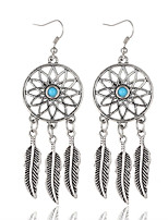 Bohemian Style Vintage Fashion Ancient Silver Alloy Leaves Tassel Earrings Round Earrings For Women Girls Gifts