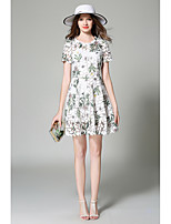 Boutique S Women's Going out Cute Sheath Dress,Floral Round Neck Above Knee Short Sleeve White Rayon Spring
