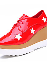 Women's Shoes Leatherette Fall Comfort Sneakers Dress / Casual Flat Heel Others Black / Red Others
