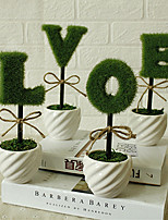 4PCS/Set Home Decoration New Ceramic Vase LOVE Artificial Plants Potted Simulation Flowers Decorated Flocking Flower