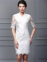 Baoyan® Damen Ständer 3/4 Ärmel Über dem Knie Kleid-160111