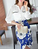 DABUWAWA® Femme Mao Manche Longues Shirt et Chemisier Blanc-D15CST212