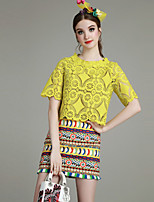 Boutique S Women's Going out Cute Summer Set Skirt,Solid / Print Round Neck ½ Length Sleeve White / Yellow Others Opaque