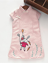 Girl's Casual/Daily Print Dress,Cotton Spring / Fall Pink / White