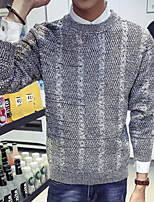 Мужской Однотонный Пуловер На каждый день,Шерсть,Длинный рукав,Черный / Красный / Серый
