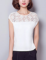 Women's Casual/Daily Sexy Summer Blouse,Patchwork Round Neck Short Sleeve Pink / White / Black Polyester / Spandex Thin