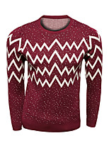 Men's Print Casual Pullover,Wool Long Sleeve Black / Blue / Red