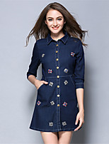 AOFULI Women Plus Size Elegance Bead Denim Pocket A Line 3/4 Sleeve Mini Dress Casual/Daily/Going out