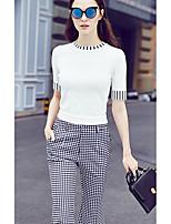 Women's Going out / Street chic Regular Pullover,Striped White Round Neck Short Sleeve Nylon Summer Medium