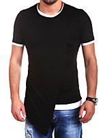 Men's Solid Casual T-Shirt,Cotton Short Sleeve-Black / Gray