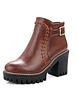 Damen-Stiefel-Kleid / Lässig-Lackleder / Kunstleder-Blockabsatz-Absätze / Plateau / Modische Stiefel / Komfort / Armeestiefel /