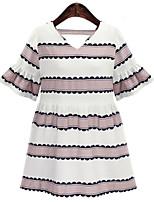 Women's Plus Size Simple Loose Dress,Print V Neck Above Knee Short Sleeve Blue / Pink Linen Summer